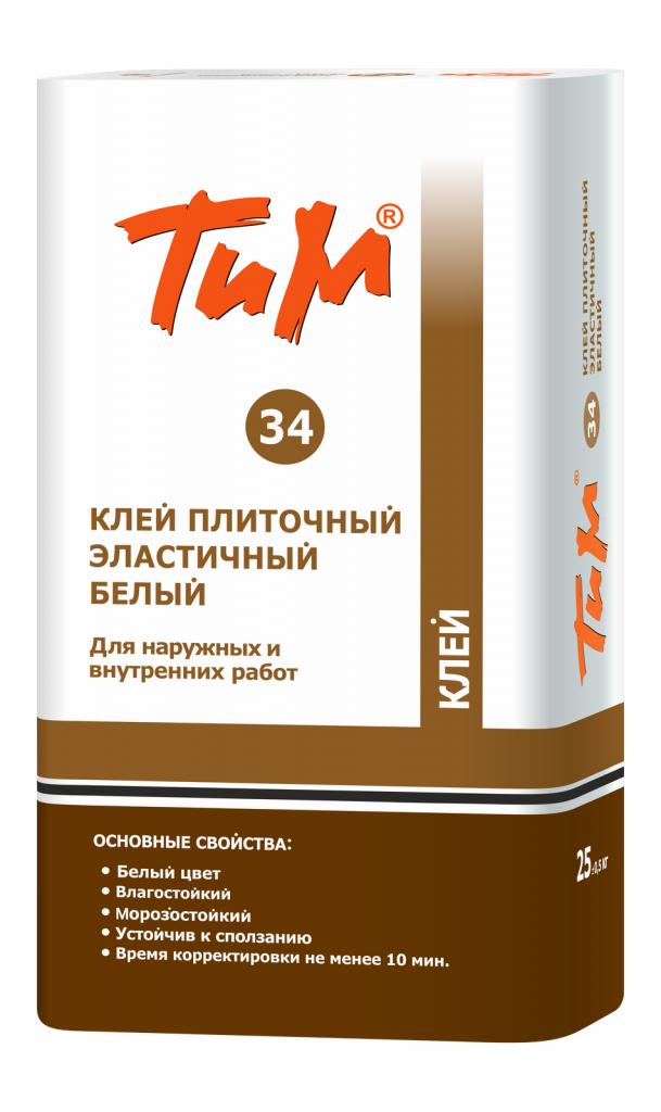 Клей плиточный эластичный белый ТиМ №34